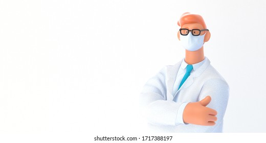 3D cartoon character. Medical insurance template -modern 3D concept digital illustration, doctor portrait. Young bearded man wearing mask, glasses, white medical coat, tie, standing crossing his hands