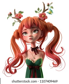 3d cartoon character red-haired girl in green dress. Dreaming woman with two tails wearing floral antlers. Princess of the forest. Druid girl. Deer girl. Ginger girl. 3d rendering on white background