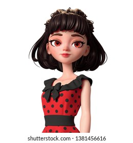 3d cartoon character woman smiling. Beautiful teenager girl with short brown hair. Portrait of a cheerful brunette pin-up girl in red retro dress with black polka dots. 3D render on white background.