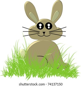3D Cartoon Easter Bunny in a nest of grass isolated illustration