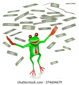 3D cartoon frog and us-dollars - wealth concept.