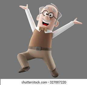3d cartoon funny happy character of old vintage man, senior age illustration, gray hair and a mustache, isolated, no background