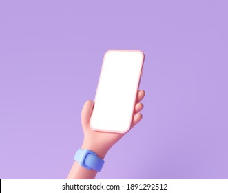 3D Cartoon hand holding smartphone isolated on purple background, Hand using mobile phone mockup. 3d render illustration