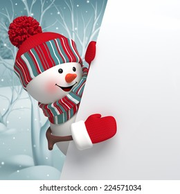 Happy snowman holding blank banner stack of gift boxes Door Sticker Xmas Decor