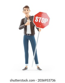 3d cartoon man pointing at stop sign, illustration isolated on white background