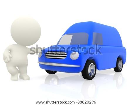 3 D Cartoon Man Van Working Transportation Stock Illustration