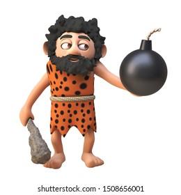 3d cartoon prehistoric caveman character holding a gunpowder bomb and club, 3d illustration 3d illustration