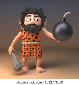 3d cartoon prehistoric caveman character holding a gunpowder bomb, 3d illustration render