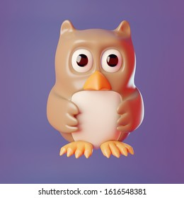 3d cartoon wise old owl wings held in front, 3d illustration render