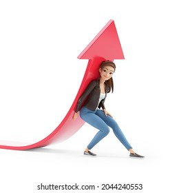 3d cartoon woman lifting up red arrow, illustration isolated on white background