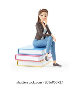 3d cartoon woman sitting on books, illustration isolated on white background