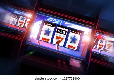 3D Casino Slots Concept. 3D Illustration of Three Slot Machines. Casino Games.