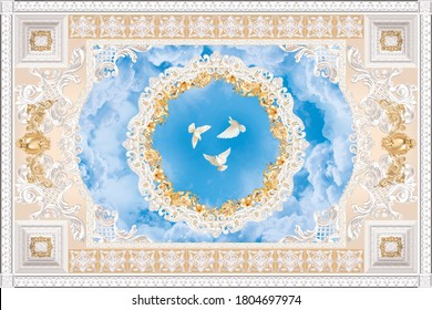 3-D ceiling painting in Baroque style with stucco ornaments, flowers and white pigeons in the blue sky.