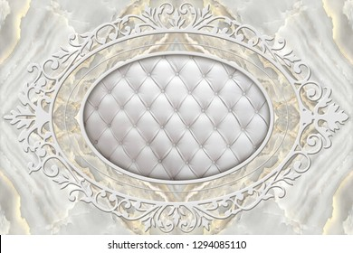 3d ceiling, stucco decor frame, effect leather quilted buttoned in the middle on marble background
