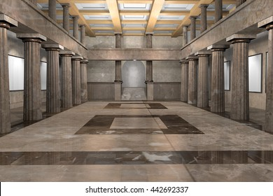 3d CG illustration of an empty classic museum interior