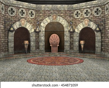 3d CG render of a luxury decorated royal throne chamber