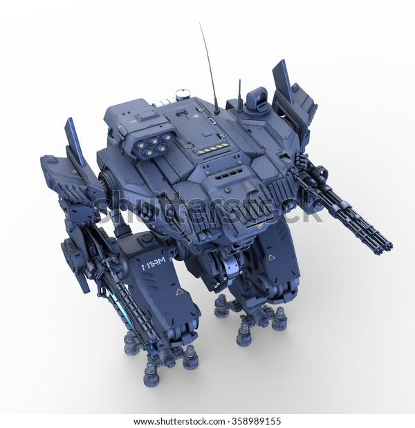 3D CG rendering of battle robot