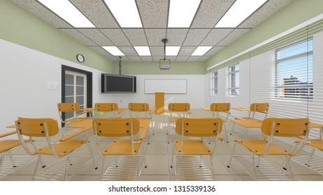 3D CG rendering of classroom