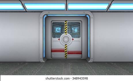 3D CG rendering of control room door