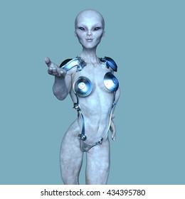 3D CG rendering of a female alien