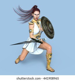 3D CG rendering of a female gladiator