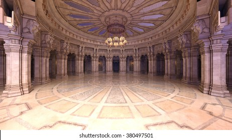 3D CG rendering of a grand hall