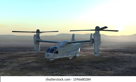 3D CG rendering of helicopter