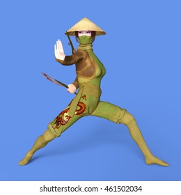 3D CG rendering of a Kung-fu girl