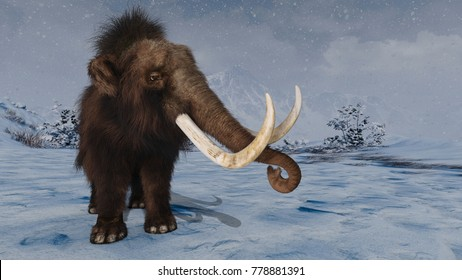 3D CG rendering of a mammoth