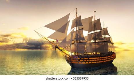 3D CG rendering of sailing boat