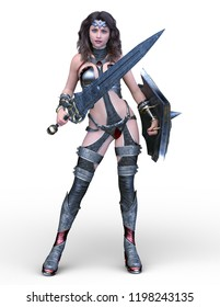 3D CG rendering of Sexy fighting woman