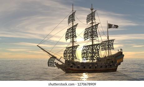 3D CG rendering of ship