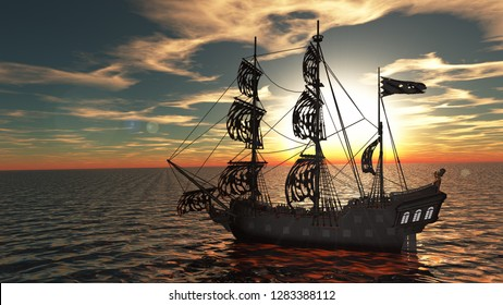 3D CG rendering of ship
