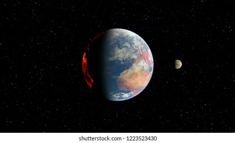 3D CG rendering of Space planet. Elements of this Image Furnished By NASA.