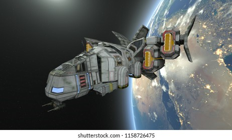 3D CG rendering of Space ship. Elements of this Image Furnished By NASA.