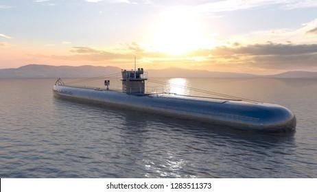 3D CG rendering of Submarine