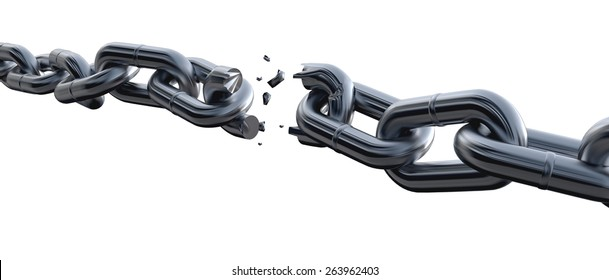 3D. Chain, Broken, Breaking.