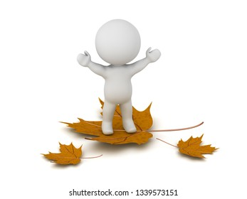 A 3D characte with a few autumn leaves. Isolated on white.