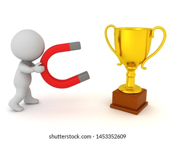 3D Character attracting gold trophy with magnet. 3D Rendering isolated on white.