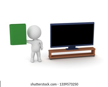 3D character with a book and a TV. Isolated on white background.