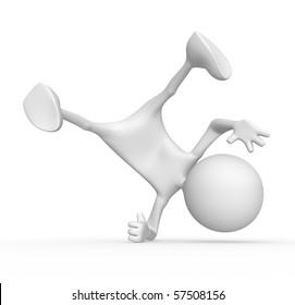 3d character break-dancer. 3d image isolated on white background.