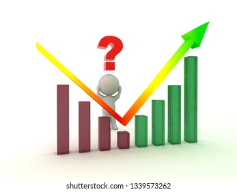3D character with a chart showing decline and then profit. Isolated on white background.