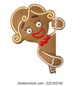 3d character, cheerful gingerbread, Christmas funny decoration, baked sweet candy, girl with frosting, funny fresh addition isolated on white background
