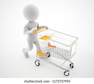3d character with empty shopping cart