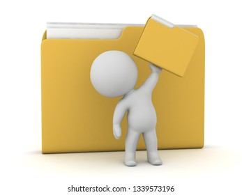 3D character with a file folders. Isolated on white background.