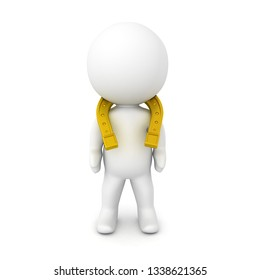3D Character with a golden horseshoe on his neck. 3D Rendering isolated on white.