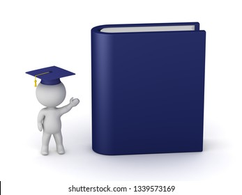 3D character with graduation hat showing a large thesis book. Isolated on white background.