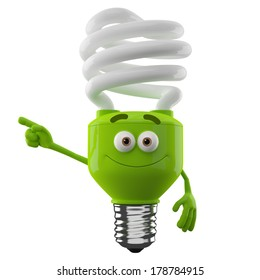 3D character of green spiral light bulb isolated on white background, happy cartoon, eco illustration, pointing save money icon
