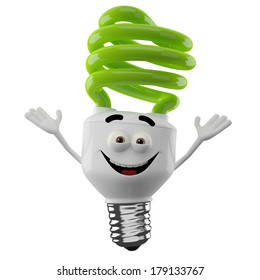 3D character of green spiral light bulb isolated on white background, happy cartoon, eco illustration, save money icon, hands up