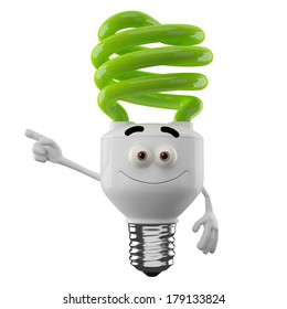 3D character of green spiral light bulb isolated on white background, happy cartoon, eco illustration, save money icon